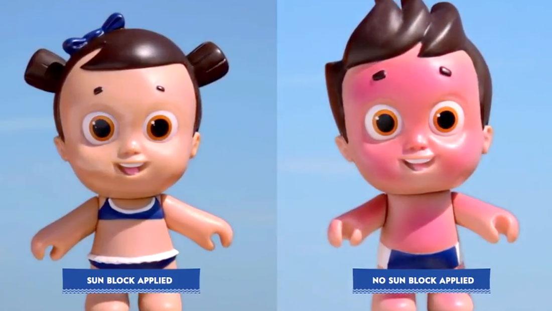 nivea doll teach kids sunscreen