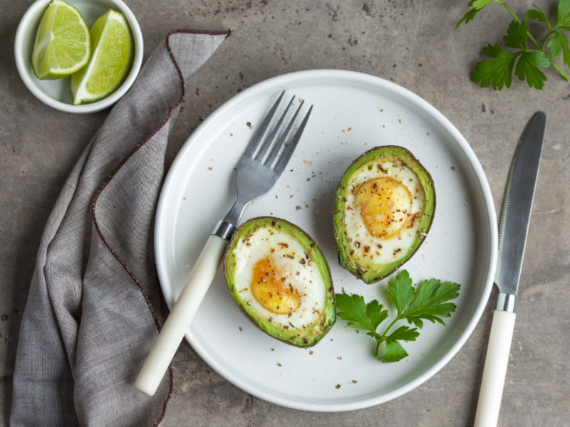 Avocados filled with eggs