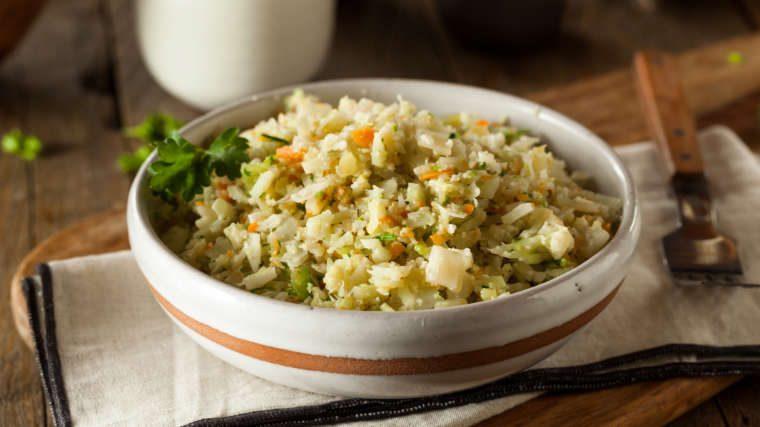 cauliflower fried rice in a bowl