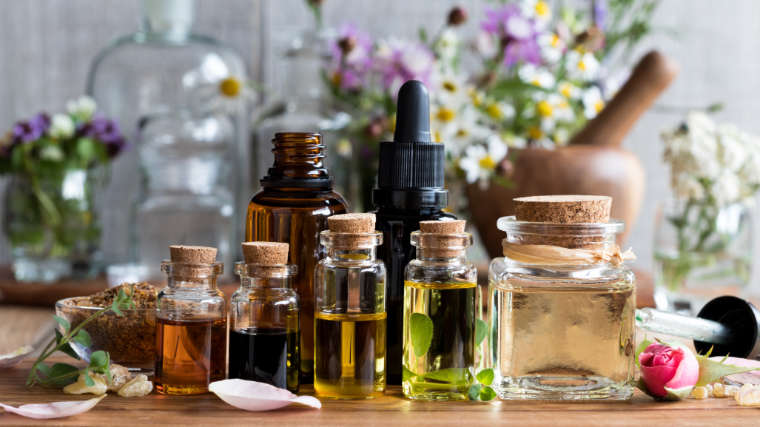 a display of pure essential oils in small bottles