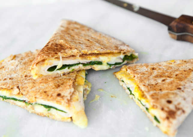 ham and spinach quesadillas