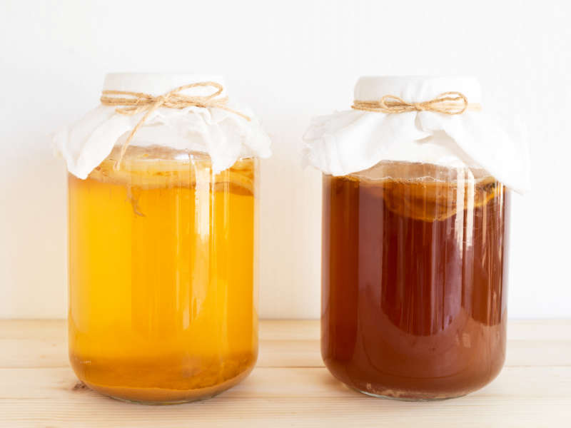 homemade kombucha tea in glass jars