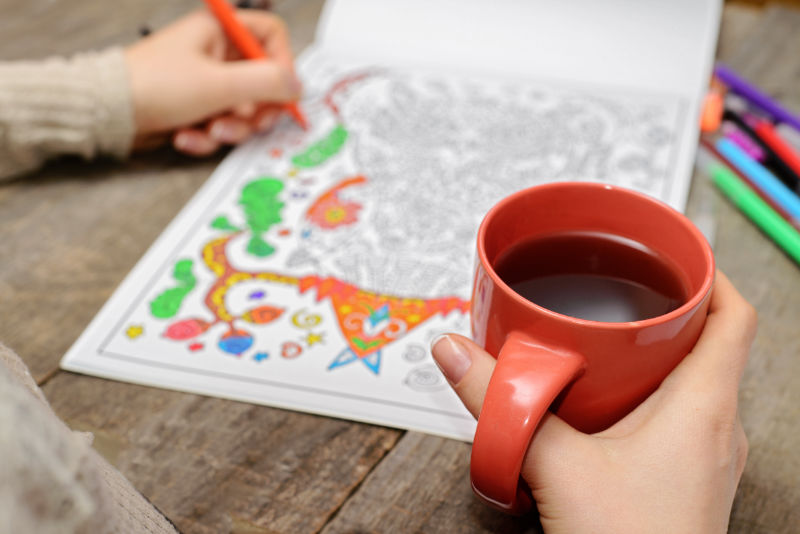 stress therapy coloring book