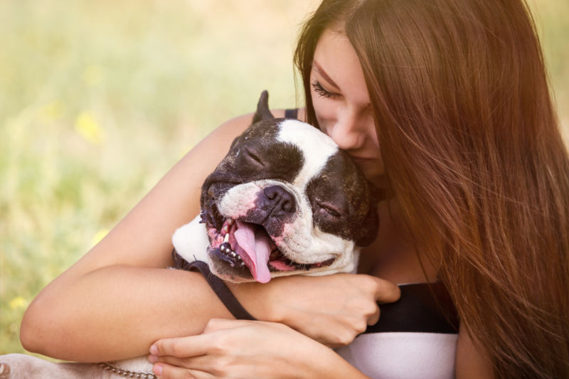 woman with her pet easing her anxiety