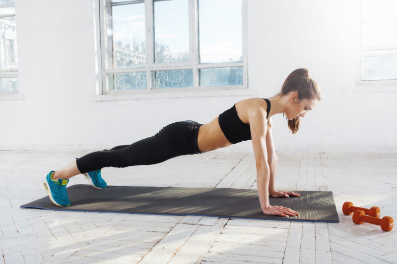 beach body push-up plank