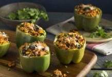stuffed green bell peppers with vegetarian filling