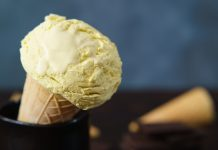 cone with scoop of banana ice cream