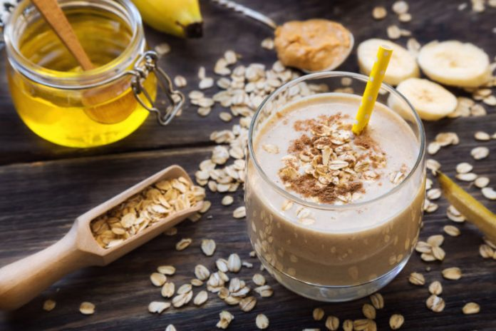 Banana Peanut Butter Smoothie in a glass