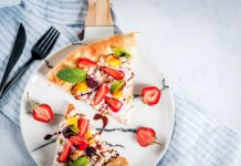 slice of dessert fruit pizza