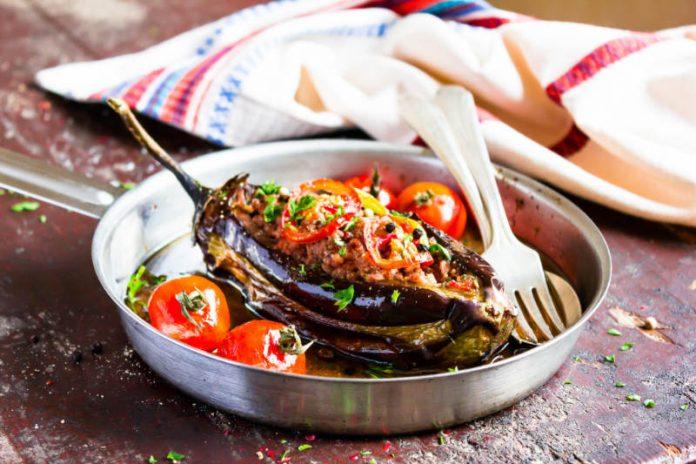 stuffed eggplant in a pan
