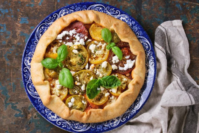 vegetable tart with summer vegetables