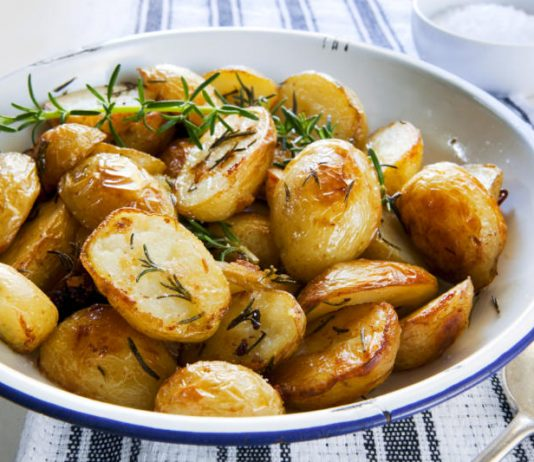 rosemary roasted potatoes in a bowl