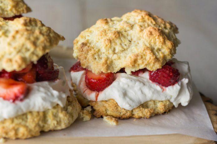 healthy strawberry shortcake close up
