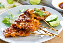 Thai bbq chicken on skewers