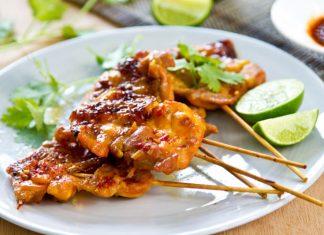 Thai bbq chicken on skewers