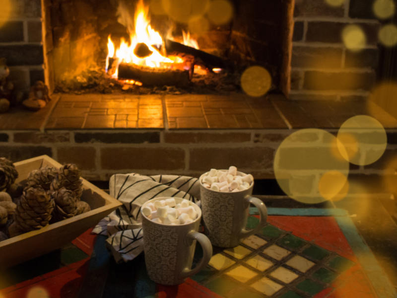 Image result for fireplace and hot cocoa