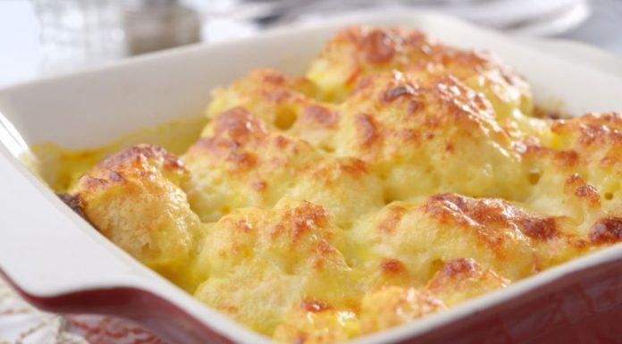cauliflower cheese in a baking dish