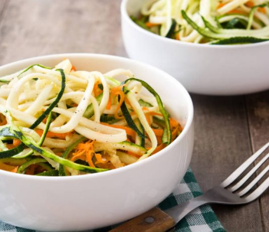 bowl of spiralized zucchini noodles and carrots