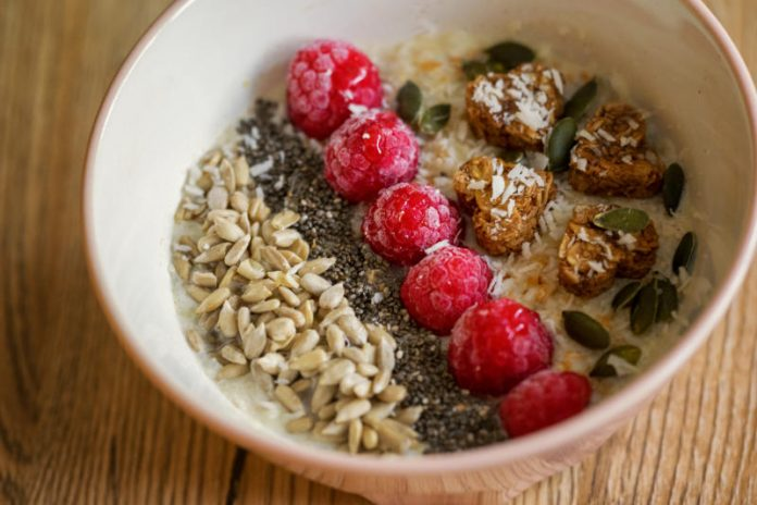 bowl of oatmeal with toppings
