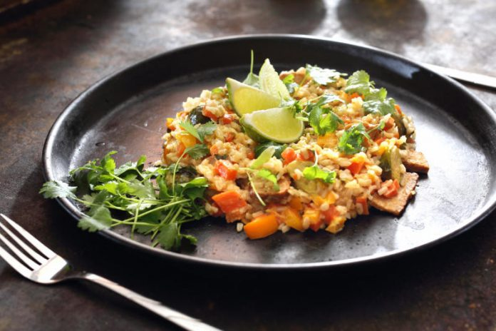 mexican rice with cilantro and lime juice