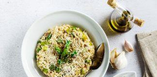 bowl of asparagus risotto
