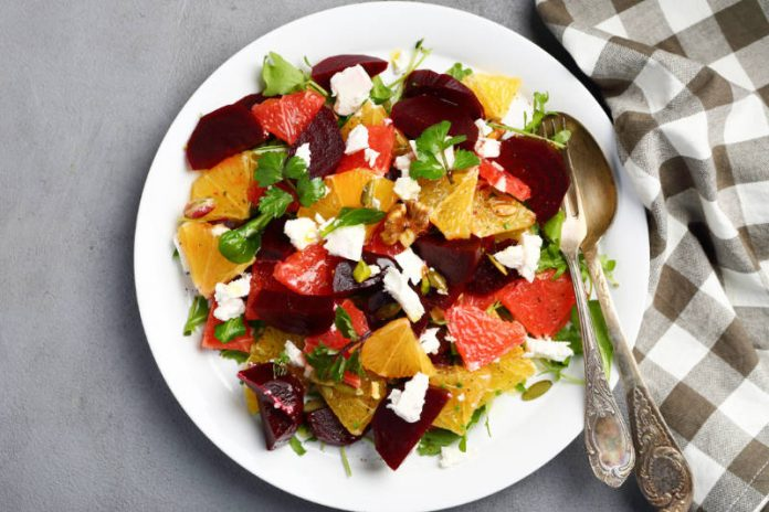 beet and orange salad on a plate