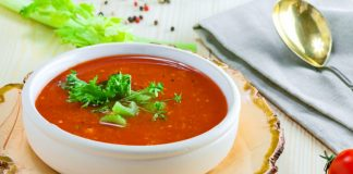 bowl of cold gazpacho soup
