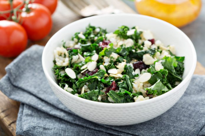 Kale Salad with dried cranberries and shaved almonds