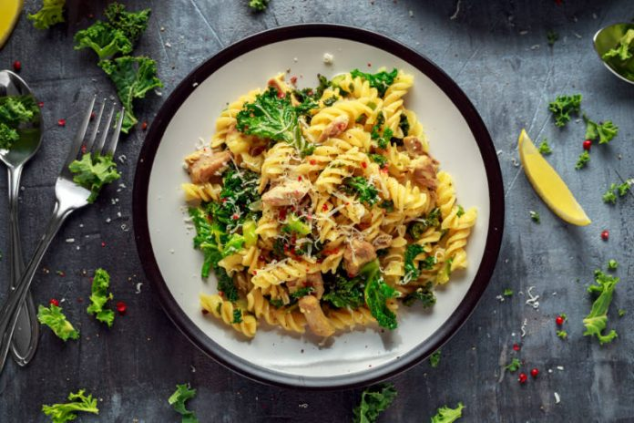kale pasta on a plate