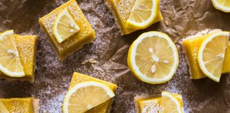 lemon squares with lemon slices on top