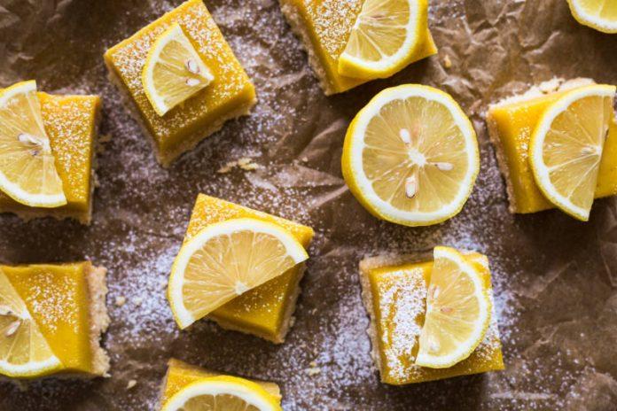 lemon squares with lemon slices on top