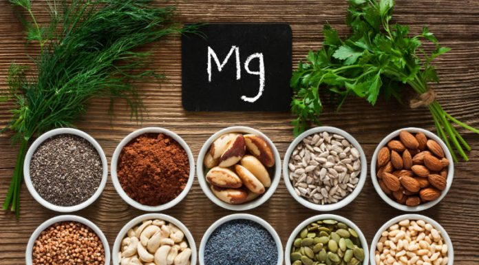bowls of nuts and whole grains rich with magnesium