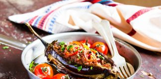 stuffed eggplant in a pan