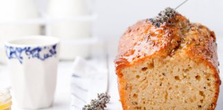 almond bread loaf with lavender sprig on top
