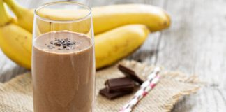 Chocolate Banana Smoothie in a glass