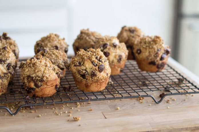 chocolate chip muffins cooling on a wire rack