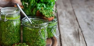 Cilantro Pesto in a jar