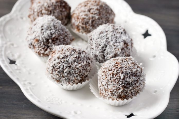 plate with coconut date balls