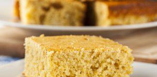 slice of cornmeal cake on a plate