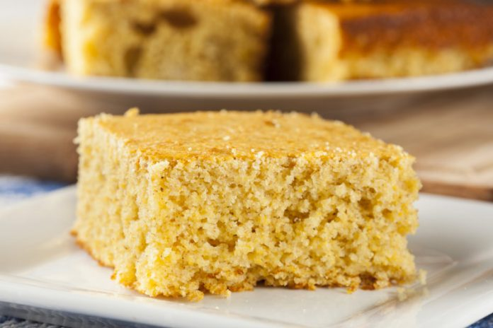 slice of cornmeal cake on a plate