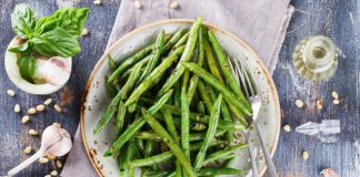 plate with green bean salad