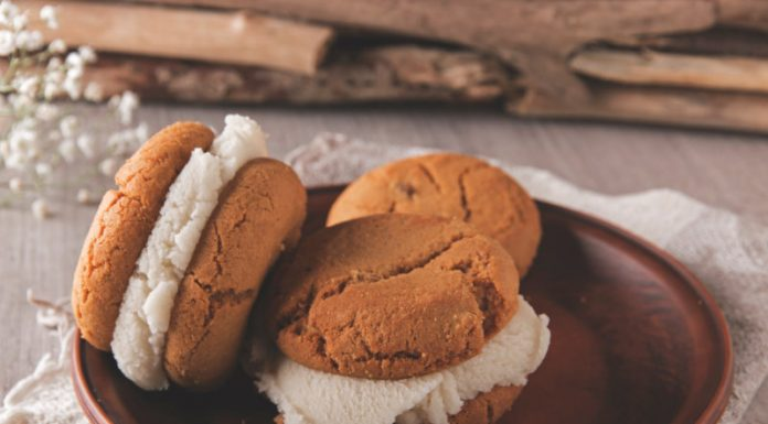 ice cream sandwich made with gingerbread cookies