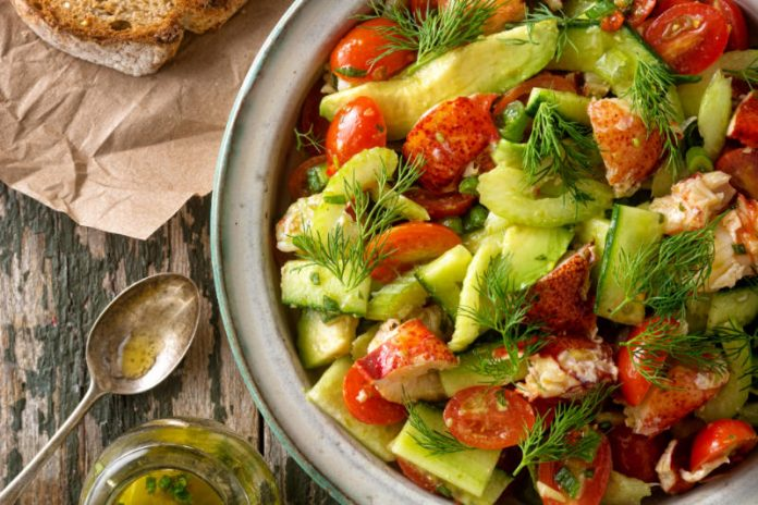 bowl of lobster avocado salad