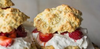 healthy strawberry shortcake close up