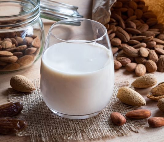 almond date shake in a cup