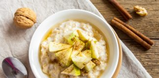 apple cinnamon oatmeal in a bowl