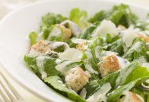 Caesar Salad with Caesar Dressing on top