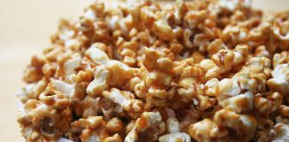 healthy caramel corn in a bowl