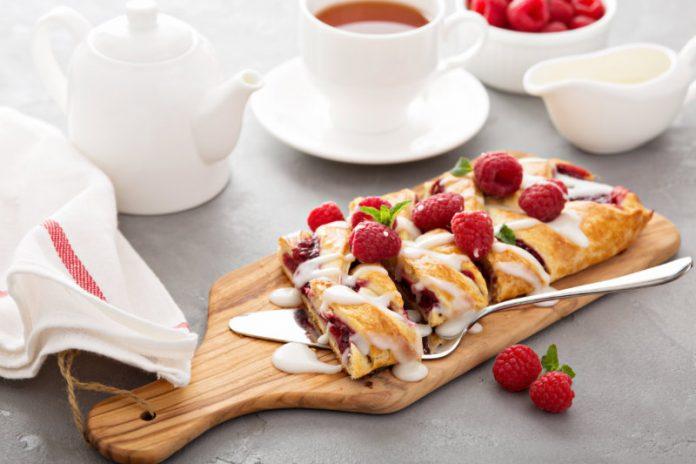 Danish Pastry Braid with fresh raspberries