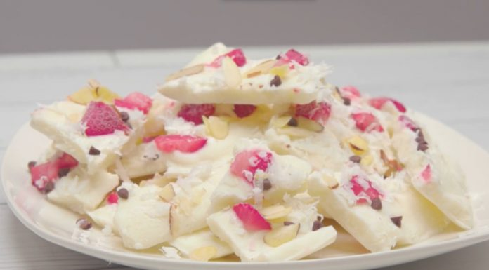 Frozen Yogurt Bark on a plate